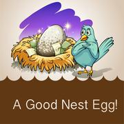 Egg in a nest with money - stock illustration