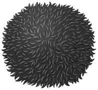 Black fluffy ball on white Stock Illustration