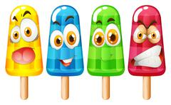 Popsicle with facial expression - stock illustration