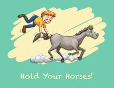 Man holding horse tail Stock Illustration