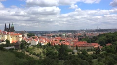 View of Prague from the Petřín hill (Hradčany & Prague Castle). Stock Footage