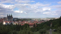 View of Prague from the Petřín hill (Hradčany & Prague Castle). - stock footage
