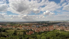 Panorama of Prague from the Petřín Lookout Tower. - stock footage