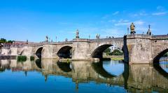 The Old Main Bridge in Wurzburg, Germany Stock Photos