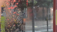 Stock Video Footage of Slow Motion Windscreen Rain From London Bus at Traffic Lights