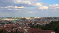 Aerial view of Prague from the Petrin Lookout Tower. Stock Footage