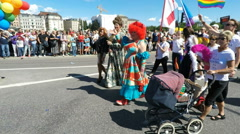 Drag Queen at Gay pride parade in Stockholm Stock Footage