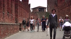 Stock Video Footage of ULTRA HD 4K real time shot,The Castel Vecchio Bridge in Verona