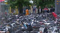 Bikes parked on the street in Berlin Stock Footage