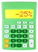 Calculator with -25 on display - stock photo