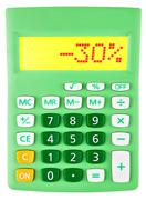 Calculator with -30 on display - stock photo