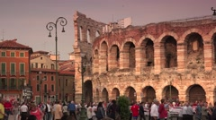 ULTRA HD 4K real time shot,Tourists near Verona Arena Roman Stock Footage