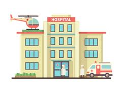 Hospital building flat style Stock Illustration