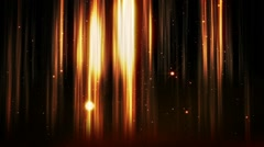 Yellow sun rays and flying particles with colorful light streaks - stock footage