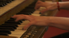 Young Woman's Hands Playing Two Manual Organ Keyboard Stock Footage