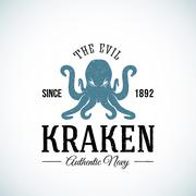 The Evil Kraken Authentic Navy Abstract Vector Logo Template. Textured Stock Illustration