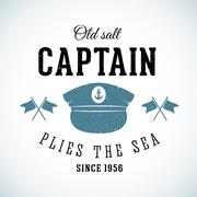 Old Salt Captain Vintage Marine Vector Logo Template with Shabby Texture Stock Illustration