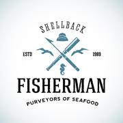 Vintage Shell Back Fisherman Vector Logo Template with Shabby Texture Stock Illustration