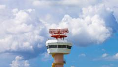 Time Lapse Airport Radar Communications Tower (zoom out) Stock Footage