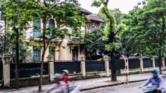 The French style villa in the downtown of Hanoi, Vietnam. Stock Footage