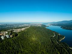 Aerial view of Burnaby Mountain and Simon Fraser University, BC Canada Stock Photos