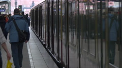 Train closing its doors in the train station, Berlin - stock footage
