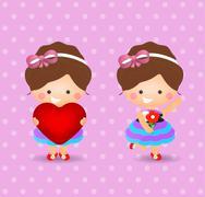Cartoon girl holding love and flower Stock Illustration