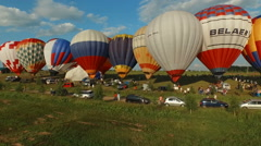 Hot air baloons, preparing for launch Stock Footage