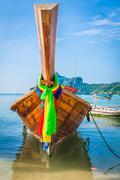 Long boat and tropical beach, Andaman Sea,Phi Phi Islands,Thailand Stock Photos