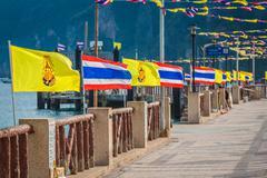 Thailand national flag,Phi Phi island - stock photo