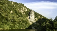 The statue of Decebal carved in the rock, The Danube Stock Footage