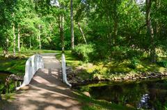 Bridge across pond in Botanical Park, Palanga, Lithuania Stock Photos
