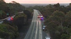 Fire department trucks on highway Stock Footage