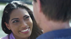 Stock Video Footage of 4K Close up of romantic mixed ethnicity couple looking into each other's eyes