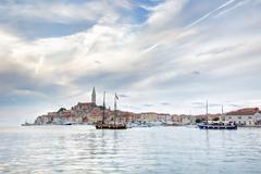 Old Istrian town of Rovinj or Rovigno in Croatia - stock photo