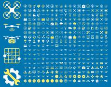 Air drones and quadcopter tools icons Stock Illustration