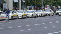 Taxi station on Karl-Liebknecht-Strasse, Berlin Stock Footage