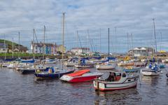 The harbour of the town of Aberaeron Stock Photos