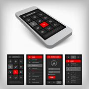 Visualization of black and red ui Stock Illustration