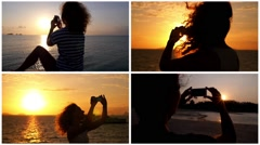 Montage Smartphone Photo at Sunset Stock Footage