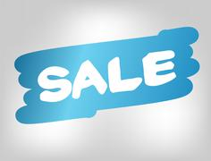 Blue painted stain for promotion message sale Stock Illustration