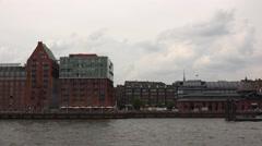4k Pan boat vehicle shot along riverside Hamburg harbour Stock Footage