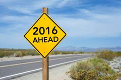 New Year 2016 Ahead road sign - stock photo