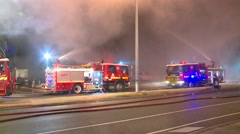 Fire Truck in huge smoke plume Stock Footage