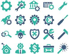 Settings and Tools Icons - stock illustration