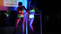 Stock Video Footage of Girls ass naked go-go dancers PJ in a disco near the nightclub