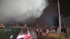 Smoke swirls near fire on lookers Stock Footage