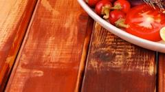 Main course: whole fryed sunfish on wood Stock Footage
