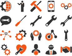 Settings and Tools Icons Stock Illustration