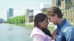 4K Portrait of attractive young couple in love in London - stock footage